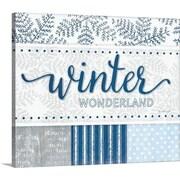 Chrstmas Art 'Winter Wonderland Silver Blue' by Jennifer Pugh Textual Art on Wrapped Canvas