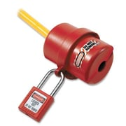 Master Lock Electrical Plug Lockout, Circular 240/120 Volt Plug, Red