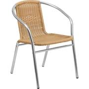 Flash Furniture Aluminum and Beige Rattan Indoor-Outdoor Restaurant Chair, Pack of 4 (4-TLH-020-BGE-GG)