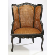 AA Importing Double Caned Arm Chair; Black