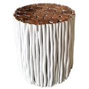 Asian Art Imports Tropical Wood Stick Stool; White