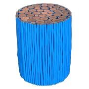 Asian Art Imports Tropical Wood Stick Stool; Blue
