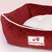 Pet Soft Things Microplush Quilted Dog Bed w/ Removable Pillow; Burgundy