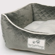 Pet Soft Things Microplush Quilted Dog Bed w/ Removable Pillow; Cloud Burst