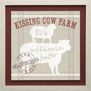 Star Creations Farm Linen Cow by Sue Schlabach Framed Graphic Art