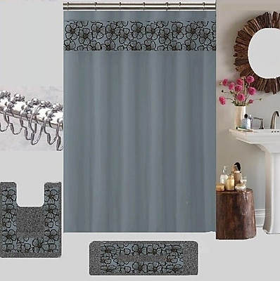 Latitude Run Berlin Shower Curtain Set; Gray WYF078279170561
