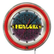 Holland Bar Stool Jimi Hendrix Mirrored Double Neon Ring Logo Wall Clock; 19'' H x 19'' W x 5'' D