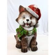 Alpine Cat Wearing Santa Hat and Scarf Decor