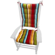 Barnett Home Decor Coastal Outdoor Rocking Chair Cushion; Red / Gold / Green