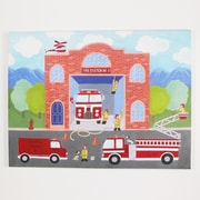 Colleen Karis Designs Whimsical Boys 'Fire Station Emergency' Painting Print on Wrapped Canvas