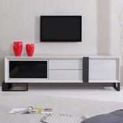 B-Modern Entertainer TV Stand; White & Stainless Steel