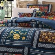 DaDa Bedding Bohemian Reversible Floral Real Patchwork Quilt Set; King