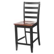 TTPFurnish Counter Height Side Chair (Set of 2); Black / Saddle Brown