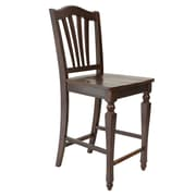 TTPFurnish Counter Height Side Chair (Set of 2); Mahogany