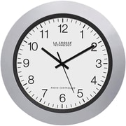"La Crosse Technology Wt-3102s 10"" Silver & Black Atomic Wall Clock"
