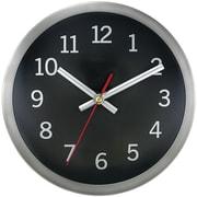 """Timekeeper 2253b 9"""" Brushed Metal Round Wall Clock (black Face)"""