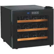 Wine Enthusiast 2720312w Silent 12-bottle Touchscreen Wine Cooler With Wood Shelves
