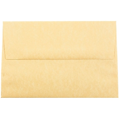JAM Paper® A8 Invitation Envelopes, 5.5 x 8.125, Parchment Antique Gold Yellow Recycled, 25/pack (16009)