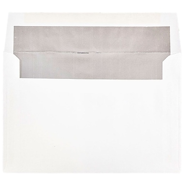 JAM Paper® A9 Foil Lined Envelopes, 5.75 x 8.75, White with Silver Lining, 25/pack (34078)