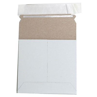 JAM Paper Photo Mailer Stiff Envelopes with Self Adhesive Closure 6 x 6 Square White Sold Individually 73286