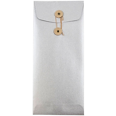 JAM Paper® #10 Policy Envelopes with Button and String Tie Closure, 4 1/8 x 9 1/2, Stardream Metallic Silver, 25/pack (1261603)