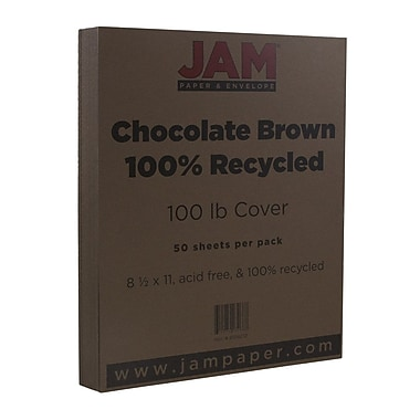 JAM Paper® Matte Cardstock, 8.5 x 11, 100lb Chocolate Brown 100% Recycled, 50/pack (8109252)
