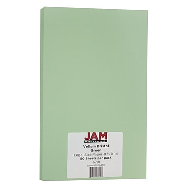 JAM Paper® Vellum Bristol Legal Cardstock, 8.5 x 14, 67lb Green, 50/Pack (16928439)