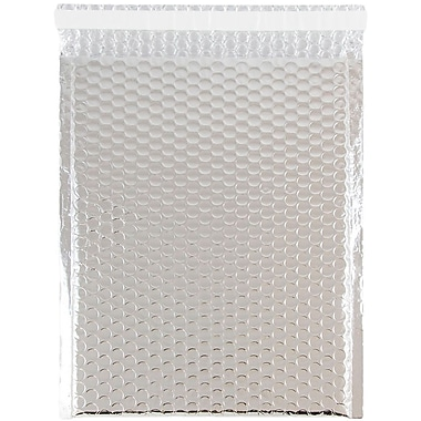 JAM Paper® Bubble Mailers with Peel and Seal Closure, 9 x 12, Silver Metallic, 12/pack (42746011)