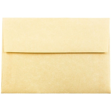 JAM Paper® 4bar A1 Envelopes, 3 5/8 x 5 1/8, Parchment Antique Gold Yellow Recycled, 25/pack (90090522)