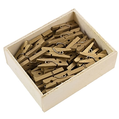 JAM Paper® Wood Clothing Pin Clips, Small 7/8, Gold, 50/pack (230726889)