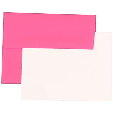 JAM Paper® Stationery Set, 25 White Cards and 25 A2 Envelopes, Brite Hue Ultra Fuchsia Pink, set of 25 (304624506)