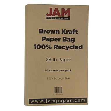 JAM Paper® Matte Legal Paper, 8.5 x 14, 28lb Brown Kraft Recycled, 50/pack (463117506)