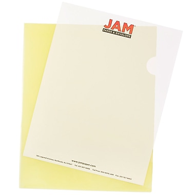 JAM Paper® Plastic Sleeves, 9 x 11.5, Yellow, 120/box (2226316991B)
