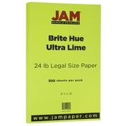 JAM Paper® Bright Color Legal Paper, 8 1/2 x 14, 24lb Brite Hue Ultra Lime Green, 500/box (0151048B)
