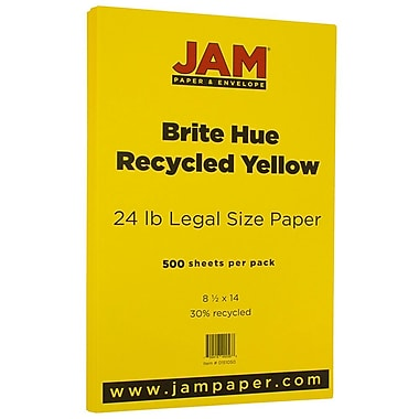 JAM Paper® Bright Colour Legal Paper, 8.5 x 14, 24lb Brite Hue Yellow Recycled, 500/Pack (0151050B)