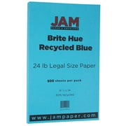 "JAM Paper® 8 1/2"" x 14"" Legal Size Paper, Blue 24lb Recycled Brite Hue, 500/Ream (151052B)"