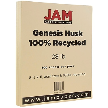 JAM Paper® Recycled Paper, 8.5 x 11, 28lb Husk Brown, 500/Pack (02821408B)