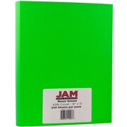 JAM Paper® Neon Cardstock, 8.5 x 11, 43lb Fluorescent Green, 250/ream (05733971B)