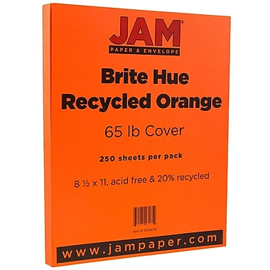 JAM Paper® Bright Colour Cardstock, 8.5 x 11, 65lb Orange Recycled, 250/ream (1033879B)
