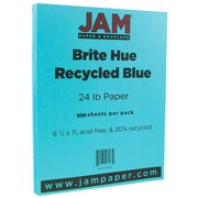 JAM Paper® Bright Color Paper, 8.5 x 11, 24lb Brite Hue Blue Recycled, 500/box (101592B)