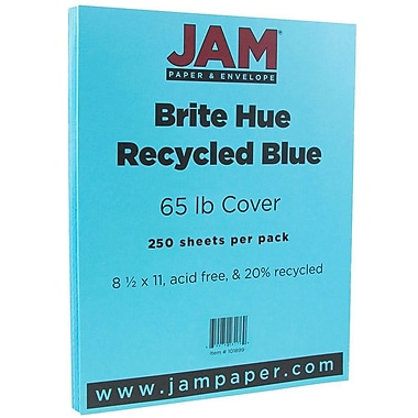JAM Paper® Bright Colour Cardstock, 8.5 x 11, 65lb Blue Recycled, 250/ream (101899B)