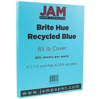 JAM PaperMD – Papier couverture cartonné recyclé Brite Hue lisse, 8 1/2 x 11 po, bleu, 250 feuilles/rame