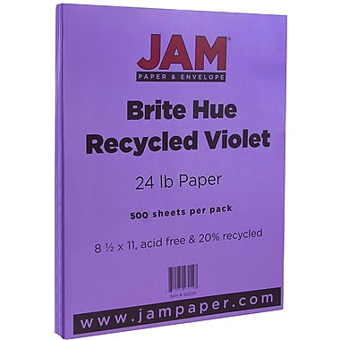 JAM Paper® Bright Colour Paper, 8.5 x 11, 24lb Brite Hue Violet Purple, 500/Pack (102129B)
