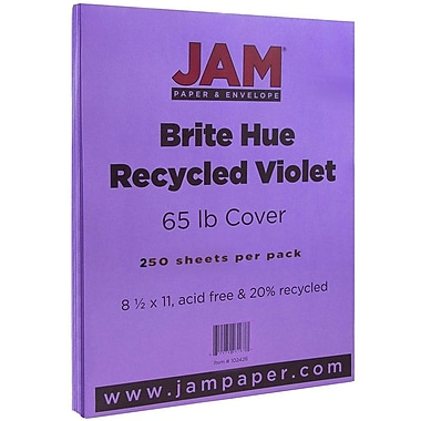 JAM Paper® Bright Colour Cardstock, 8.5 x 11, 65lb Violet Purple Recycled, 250/ream (102426B)
