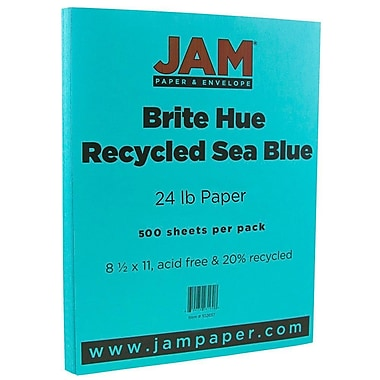 JAM Paper® Bright Colour Paper, 8.5 x 11, 24lb Brite Hue Sea Blue Recycled, 500/Pack (102657B)