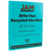 JAM Paper® Bright Color Cardstock, 8.5 x 11, 65lb Sea Blue Recycled, 250/ream (102677B)