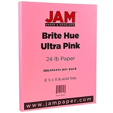 JAM Paper® Bright Colour Paper, 8.5 x 11, 24lb Brite Hue Ultra Pink, 500/Pack (103564B)