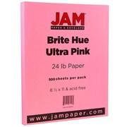 JAM Paper® Bright Color Paper, 8.5 x 11, 24lb Brite Hue Ultra Pink, 500/box (103564B)