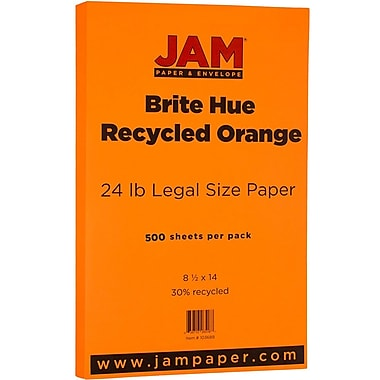 JAM Paper® Bright Colour Legal Paper, 8.5 x 14, 24lb Brite Hue Orange Recycled, 500/Pack (103689B)
