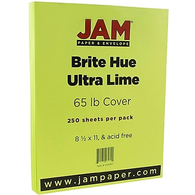 JAM Paper® Bright Colour Cardstock, 8.5 x 11, 65lb Ultra Lime Green, 250/ream (104067B)